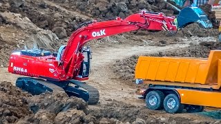RC excavator action at the construction site! R/C Digger compilation!