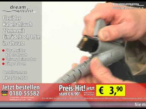 Flexibler Kabelschlauch 22mm mit Einfädeltool, 1.5m in schwarz