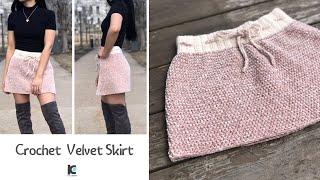 Crochet Velvet Skirt ( Free Pattern Sizes XS - XXL )