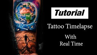 Universe - Tattoo Timelapse With Real Time