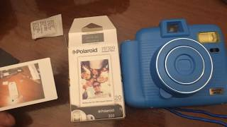 Blue Sharper Image Instant Camera PIF300 Film Battery And Film Insertion