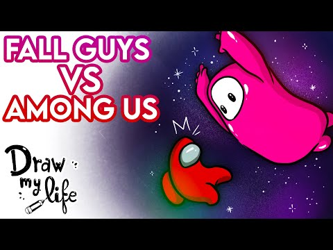 AMONG US vs FALL GUYS | Draw My Life en Español HD Mp4 3GP Video and MP3