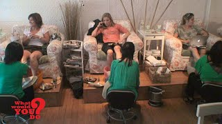 Customer is rude to Asian American nail salon staff l First broadcast on 06/07/2013