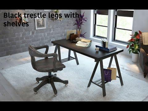Basic Assembly Black Trestle Leg With Shelf