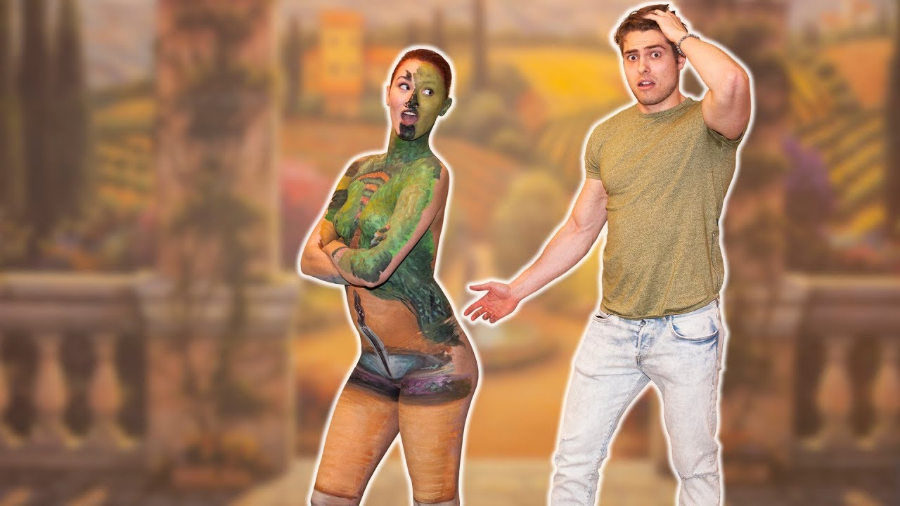 Body Painted Model Becomes A Wall Mural And See How Long These Guys Will Notice Her