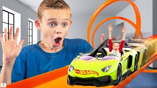 Kade Shrinks to Race his Giant Hot Wheels Track with Infinity Loop! With the Fun Squad!