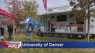 Denver Elections Mobile Voting Center Celebrates The First Day Of Early Voting On The University Of