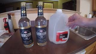 Cutting 190 proof Everclear to 80 proof.