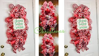 Dollar Tree Oval Christmas Centerpiece Or Door Swag Wreath DIY