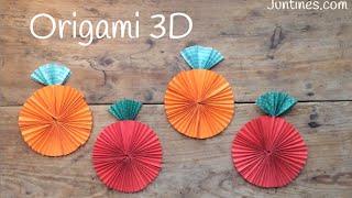 ORIGAMI fácil para niños: Manzana | Origami 3d paso a paso