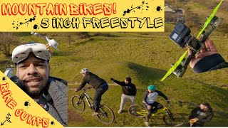 FPV Freestyle Downhill: Mountain Bikes Jumps and Chase