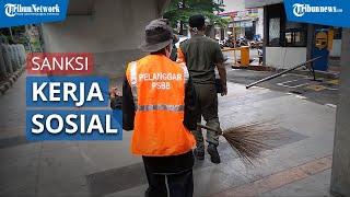 Pelanggar Protokol Kesehatan Kena Sanksi Kerja Sosial di Pos Operasi Yustisi Kawasan Blok M