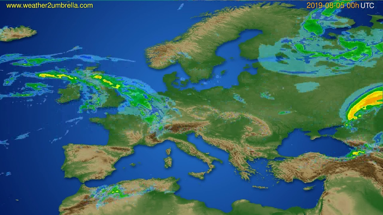 Radar forecast Europe // modelrun: 12h UTC 2019-08-04