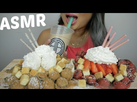 BUBBLE WAFFLE Oreo Cookie & Red Velvet ASMR *Soft Relaxing Eating Sounds | N.E Let's Eat