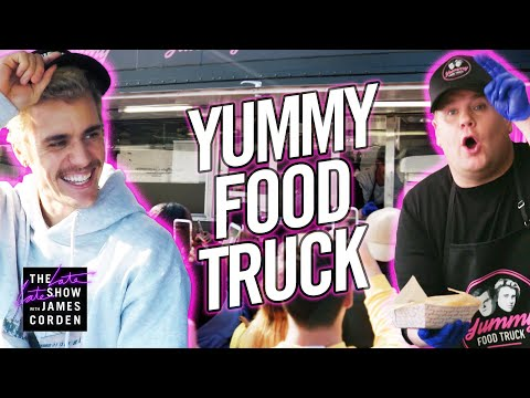 "Justin Bieber & James Corden's ""Yummy"" Food Truck"