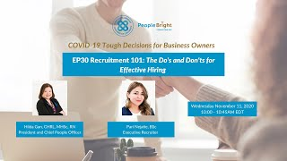 COVID-19 TDBO EP30 Recruitment 101: The Do's and Don'ts for Effective Hiring Recording