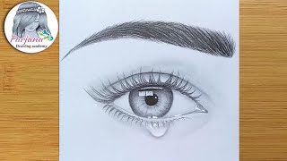 How To Draw An Eye With Teardrop For Beginners || EASY WAY TO DRAW A REALISTIC EYE ||