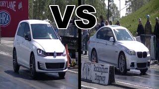 BMW 550i F10 vs Volkswagen Golf GTi 1/4 Mile