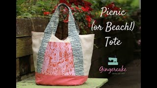 Picnic Beach Tote With Quilted Handles