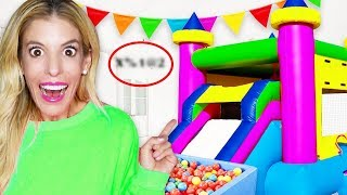 GAME MASTER Transforms My Living Room into a Giant FUN HOUSE! (Hidden Clues inside Bounce Ball Pit)