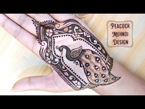 simple peacock henna mehndi design by mehndi creations
