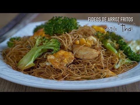 Fideos de arroz fritos con salsa de soja estilo Thai - Rice Vermicelli Pad Se Ew