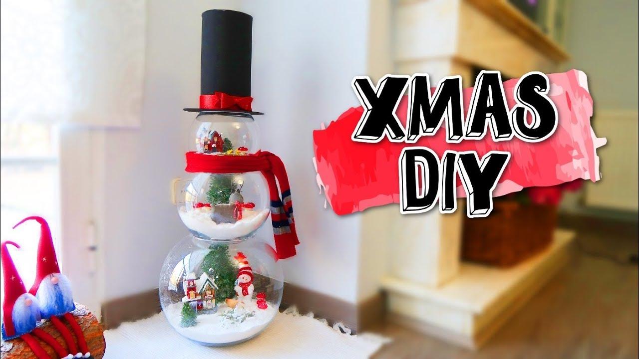 Muñeco de nieve con esferas de cristal | Ideas fáciles para Navidad ...
