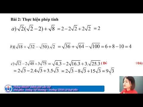 Toán 9: Chuyên đề căn bậc hai (GV: Hoàng Thị Thương - Trường THCS Lê Quý Đôn - TP Lào Cai)