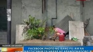 NTG: Litrato ng isang Fil-Am na nagtatanim sa harap ng abandonadong hotel sa Maynila, kumakalat