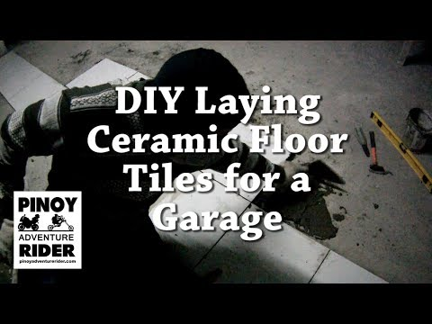 DIY Laying Ceramic Floor Tiles for a Garage in under 4 minutes!