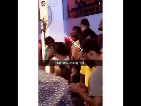 Wizkid & Tiwa Savage Caught Kissing In Ghana