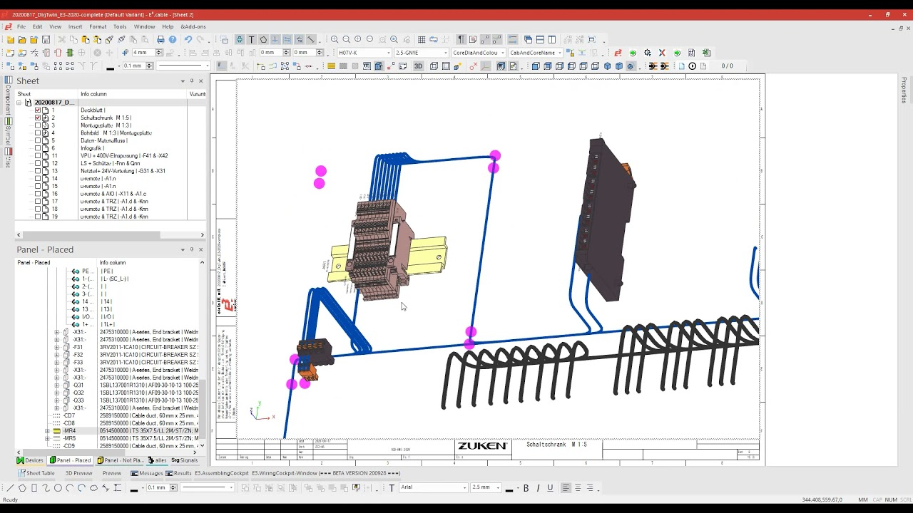10. Export of information for automated production of sequenze bundels and terminal strip wiring