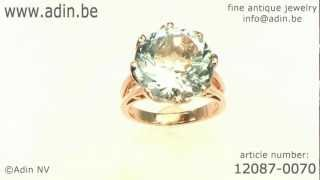 French Vintage Red Gold Ring With Huge 8.33 Crt Aquamarine (12087-0070)