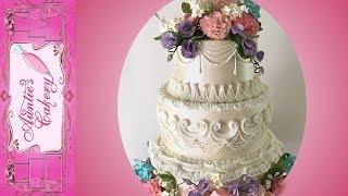 Spring Flower Wedding Cake. Short Tutorial