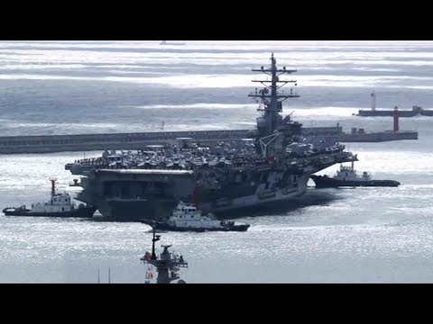 Aircraft carrier USS Ronald Reagan sails into Busan port as DPRK tensions simmer