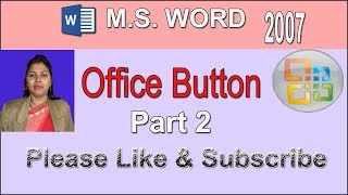 ms office button in hindi  OFFICE BUTTON in MS-WORD 2007 PART- 2 HINDI ME