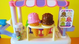Toy Ice Cream Cart playset Elsa Minnie Mouse Dora Barbie chocolate vanilla ice cream toy food