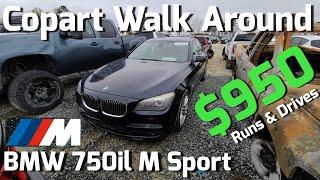 BMW F01 750li CHEAP Copart Walk Around      And Carnage.