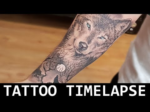 TATTOO REALISMO preto e sombra, Tattoo timelapse wolf and moon, lobo e a lua preto e sombra