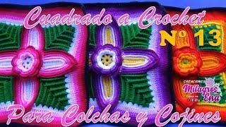 Cuadrado O Muestra A Crochet Con FLOR Y HOJAS EN RELIEVES Para COLCHAS Y COJINES Paso A Paso