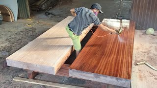 Making An Extremely Giant Table From Monolithic & Rare HardWood (long 3.5m/wide 2m/high 32+18cm)