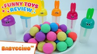Babyccino Funny Toys Review Episode 9 - Learn Colors Rainbow Ice Cream & Kinetic Sand
