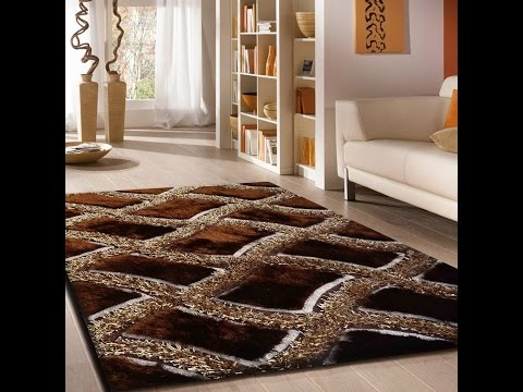 Living Room Indoor Area Shag Rug in Brown with Dimensional Geometric Desing By Rug Addiction