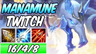 FULL CRIT MANAMUNE TWITCH ADC Full Burst | New Build & Runes | Ice King Twitch | League of Legends