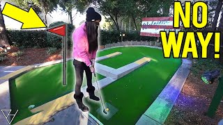 Ridiculously Lucky Mini Golf Hole In One!
