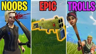 Pickaxed in the EYE! NOOBS vs EPIC vs TROLLS - Fortnite Battle Royale Funny Moments