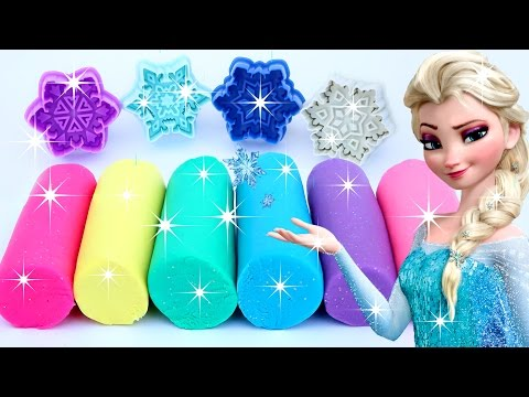 Sparkle Play doh Frozen Elsa Snowflakes Molds Modelling Clay Fun and Creative (видео)
