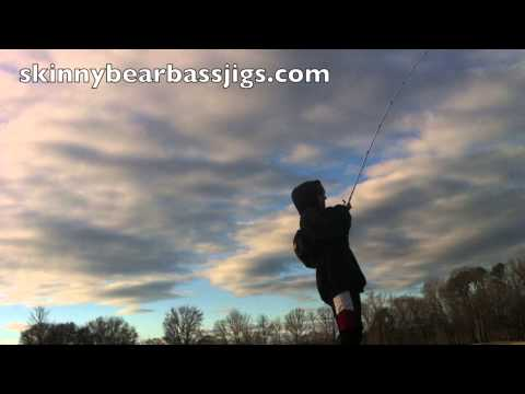 Bass fishing at a local pond with a skinny bear bass jig