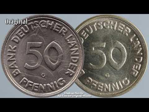 Vorsicht vor Münzfälschungen - 50 Pfennig Bank Deutscher Länder 1950 - Original und Fälschung - BDL