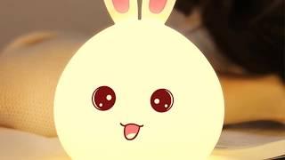 Детский 3D ночник Happy rabbit из силикагеля без проводов Аккумулятор 1200маH  сертификат качества. Распродажа! - видео 1